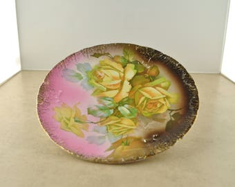 Vintage Decorative Plate - Yellow Roses - Unmarked