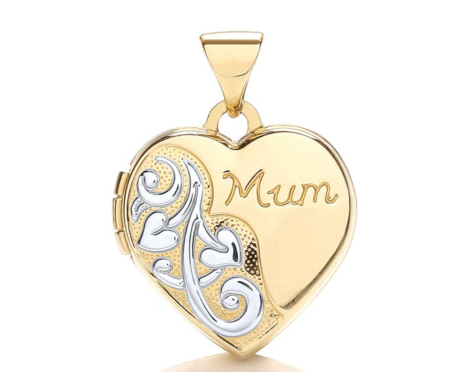 9ct Gold Heart Shaped 2 Photo Mum Locket-Personalised Reverse Message