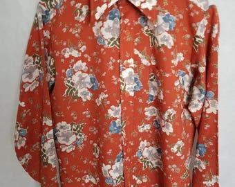 Women's 1970s Bran-De-Chine, 100% Polyester, Multi-Color, Floral Shirt Size S