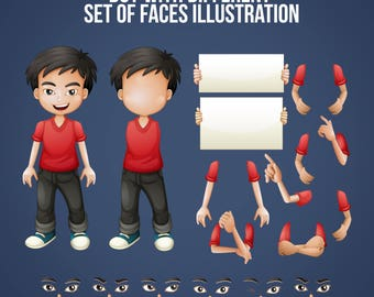 Boy with different set of faces and arms illustration - SVG FILE - instant download - eps, ai, psd, svg, dxf