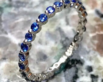 ON SALE!! Diamond and Blue Sapphire ,Prong Set, Stackable Eternity Ring, Platinum Ring