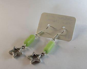 Jasper with open star charm earrings