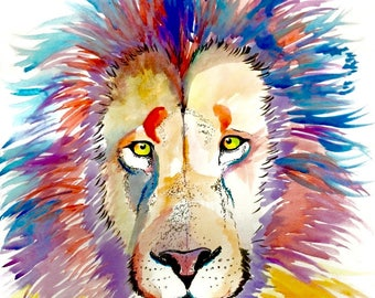 Rainbow Lion Watercolor Print