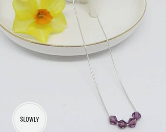 Choker the minimalist Silver 925 snake chain Pearl plum purple swaroski reflection bohostyle free shipping gift