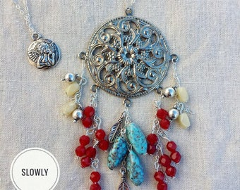 Necklace silver rose beads faceted Strawberry red tinted turquoise beaded white lime jokes dreams bohostyle