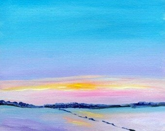 Snowy Landscape Sunset Original Acrylic Painting