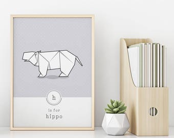 Hippo Print, Zoo Illustration, Origami Wall Art, Contemporary Animal Art, Wild Animal Print, Pastel Print, Modern Nursery, Minimalism