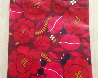 New Handmade Oilcloth Shopping Tote Bag Shopper Made of Red Floral Marimekko Fabric Finland