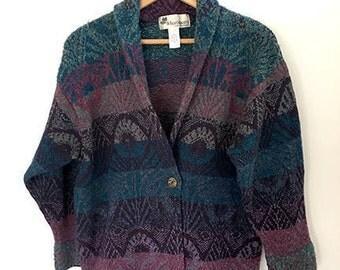 Vintage Whortleberry Wool - Button Up - Nordic Cardigan - Sweater - Size M - Jacket - Purple Blue Geometric Pattern