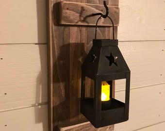 Mini Hanging Lantern Sconces, Farmhouse Wall Decor, Lantern Sconces, Black, Lanterns, Wood Sconce with Lantern, Country Decor, Wall Lantern