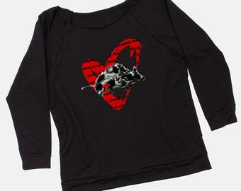 Terry Sweatshirt, Pig Sweatshirt, 3/4 Sleeve,Funny Sweatshirt,Scoop Neck,Boar,Comfy Sweatshirt with our Signature Style. Wear Something Fun.