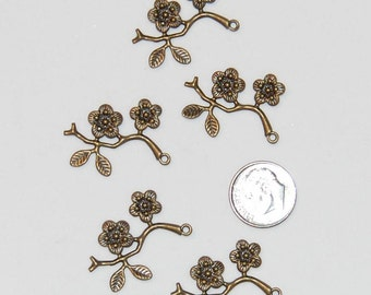 Flower Plum Blossom Branch Pendant/Charms, Antique Bronze, 5 pieces. Free Shipping.