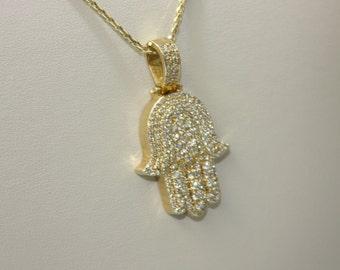 Diamond Pendant Hamza (hand of god) handcrafted 14 k solid yellow gold, 14.9 gr.