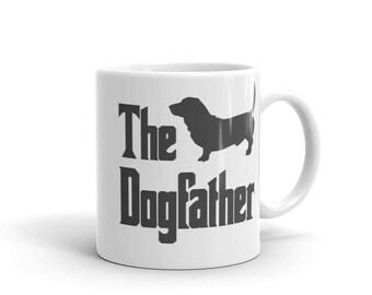 The Dogfather mug, basset mug, funny dog gift mug, The Godfather parody, dog lover mug, basset lover mug, basset gift