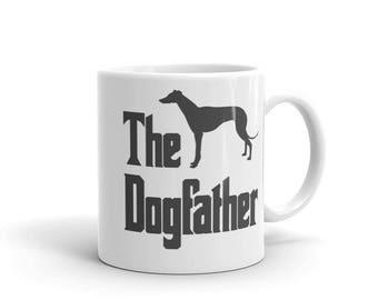 The Dogfather mug, Greyhound silhouette, funny dog gift mug, The Godfather parody, dog lover mug, funny greyhound mug