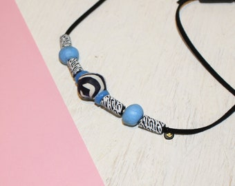 Black, white and blue 100%recycled glass bead necklace, Ethically sourced in Ghana