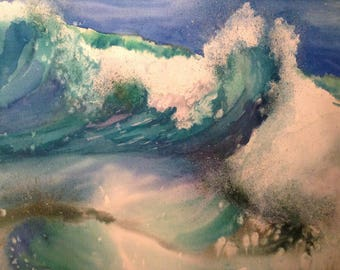Painting. Wave and foam. Watercolor