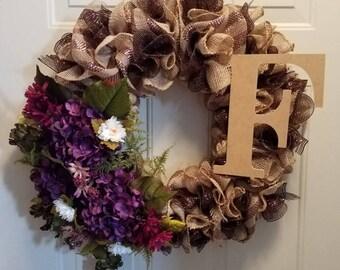 Burlap Monogram wreath; Anytime wreath; everyday wreath; burlap wreath; purple flower Wreath