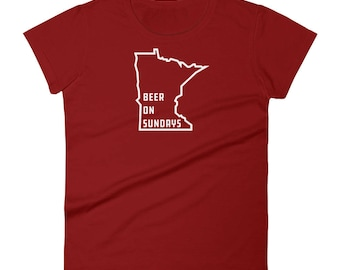 Beer on Sundays Minneapolis MN State Gift Tees - Women's Short Sleeve T-Shirt
