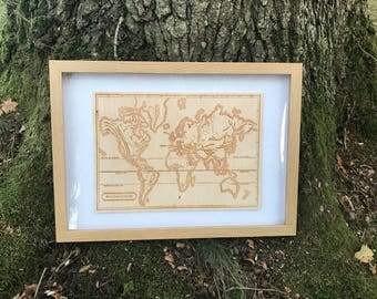 Mountain Range World Map Engraving!  Wood Wall Art!  Engraved onto birch plywood and available framed.