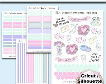 Printable Planner Stickers - Valentine's Day