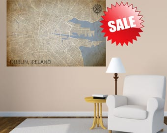 VINTAGE DUBLIN MAP - Vintage Map of Ireland, Dublin Map, Dublin Ireland City Map, Street Map of Dublin Eire, Art Print Canvas, Europe Map