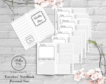 Personal Planner Insert, Weekly Planner Inserts, Undated Planner, Day on 2 Pages, TN Inserts, Personal Insert Printable, Monday Start Insert