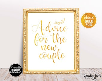 Advice For The New Couple Wedding Sign, Printable Wedding Sign Template, Gold Wedding Sign, Instant Download, WS02