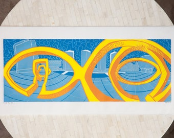 Inside Trio - Empire State Plaza Albany, NY Linocut - Modern Sculpture, Architecture, Reduction Printmaking