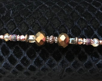 """Brown Beaded Necklace, 19"""" in length."""