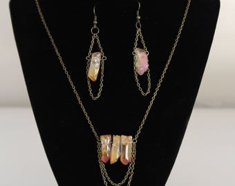 Titanium coated crystal necklace and earring set