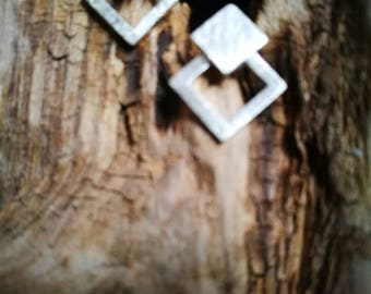 Geometric brushed Stirling silver square on square design stud Earrings