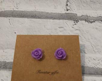 Rose flower stud earrings 10mm