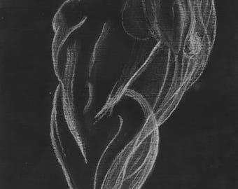 ORIGINAL artistic nude pencil charcoal drawing women