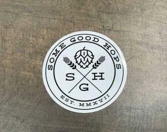 """Some Good Hops Black Logo 3"""" Diameter Sticker"""