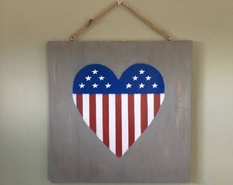 Patriot Heart,Patriotic Sign, Stars and Stripes, American Sign, 4th of July, Independence Day Sign, Distressed Sign, Gray Painted Sign