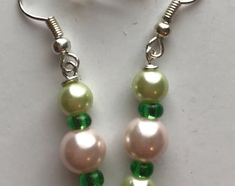 Green and Pink Beaded Drop Earrings, Green Pink Earrings, Pink and Green Beaded Earrings, Pink Green Drop Earrings, Pink Green Earrings