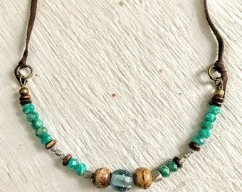 Boho Necklace, Gypsy Necklace, Gemstone Necklace, Beaded Necklace, Earthy Necklace, Rustic Jewelry, Green Amazonite Gemstone Necklace