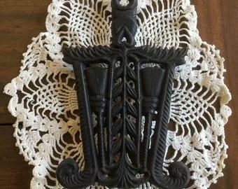 Vintage Cast Iron Trivet, Made In Japan Trivet, Trivet with Broom, Collectible Trivet, Retro Kitchen, Vintage Kitchen, Vintage Decor, Trivet