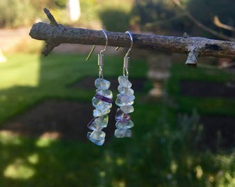 The 'Tamara' Handmade semi precious fluorite and silver hook earrings.