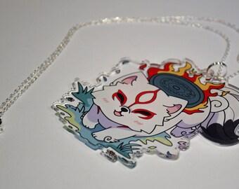Amaterasu Large Acrylic Charm Necklace or Charm Strap Okami Wolf Japan Kawaii