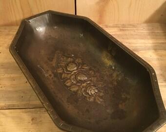 Vintage Brass Dish Tray Bowl