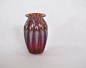 Hand Blown Glass Vase: Small Red Glass Vessel, Office Decor, Desk Decoration, Flower Vase Art by Graham Judge