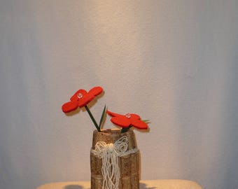 Cork vase incl. Flower made of felt, glass upcycling