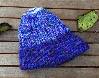 Hand Knitted Multi-Coloured Striped Woolly Hat