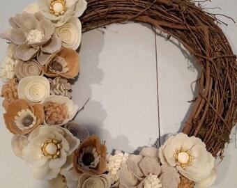 Large neutral felt flower twig wreath