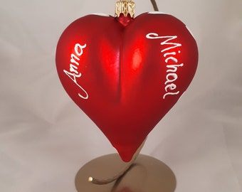 Personalized Glass Heart, hand-painted  Valentine's Day gift