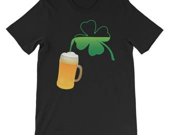 St Patrick's Day Funny Clover Beer Drinking Gift for Him Short-Sleeve Unisex T-Shirt