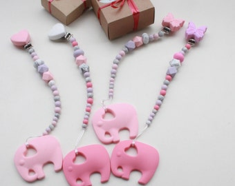 CUTE silicone teething set, Pacifier clip & teether elephant fora girl.