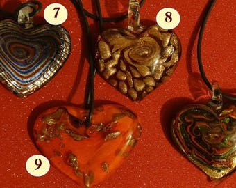 Heart glass pendant necklace - choice of 10 stunning lampwork designs - lovely Valentine's gift